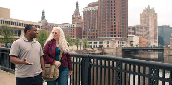 Couple on Downtown Milwaukee Bridge