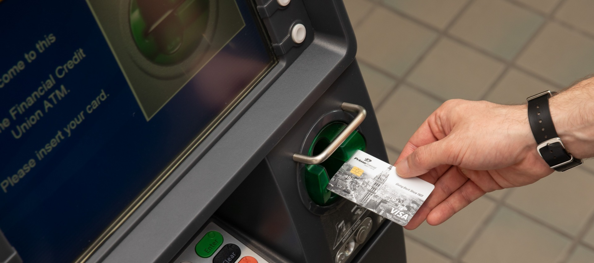 Inserting Card into ATM