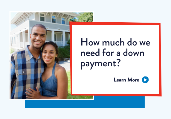 Couple smiling in front of house. How much can I afford for a down payment?
